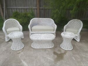 Woven Wicker Cane Bamboo Lounge Outdoor/Indoor Furniture Set