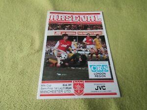 Arsenal v Manchester United - Milk Cup Semi-Final 1st leg in 1983 at Highbury