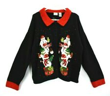 Carolina Colours Women's XL X-Mas Christmas Snowman Embroidered Sweater Cardigan