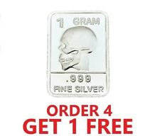 1 Gram .999 Fine Silver Bar - Skull
