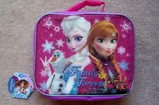 "Disney Frozen Elsa Anna Olaf Lunch Box Bag ""Family Forever"" Purple Pink Blue"
