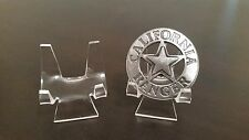 """~35 Premium 2-3/8"""" Display Stand Easel Police Fire Rescue Railroad Badges"""