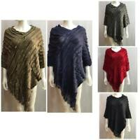 LADIES WOMEN ASYMMETRIC TASSEL FRINGE PONCHO LONG SLANTED CAPE RUFFLE JUMPER
