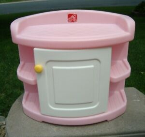 """Step 2 Table Changing Baby Storage Pink 19"""" tall RARE Heavy Plastic White Door"""