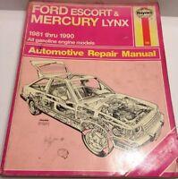 Haynes Manual Ford Escort Mercury Lynx 1981-1990 All Gas Engine Models