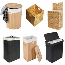 Bamboo Laundry Hamper Clothes Storage Sorter Bin Organizer Lid  Home Supplies US