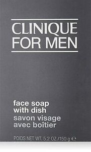CLINIQUE for MEN OIL Control Face Soap with Dish All Skin Types Bar 5.2oz NIB