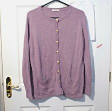 M&S Marks Spencer Classic purple wool blend cardigan Size 20 Gold metal buttons