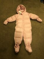 Baby Gap Girls Snowsuit 18-24 Months Pink All In One down feathers mittens *NEW*