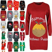 Womens Ladies Mummy's Christmas Pudding Maternity Oversized Baggy Knitted Dress