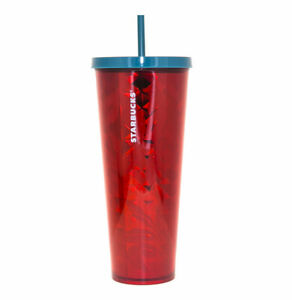 STARBUCKS Red Flowers Berries Abstract Faceted Print Cold Cup TUMBLER 24Oz
