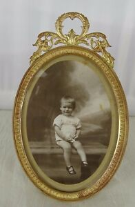 """6""""  Antique French Gilt Bronze Picture Frame - Empire Style"""