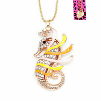 Colorful Enamel Crystal Crown Sea Horse Pendant Chain Betsey Johnson Necklace