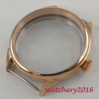 New 42MM Watch 316L Stainless Steel Rose Golden CASE Fit ETA 6498 6497 Movement