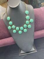 "Vintage Turquoise Blue Faceted Cabochon Gold Statement Necklace Bohemian 18"""