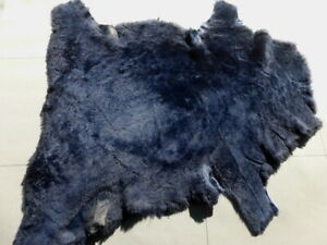 Nappa sheepskin shearling leather hide Dark Blue Silky Hair w/Black Smooth back
