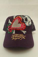 NWOT Ed Hardy Christian Audigier Skull & Hearts Purple Truckers Cap FREE GIFT!