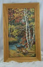 Vintage Framed Pair of Pheasants in Fall Foliage Paint by Number Picture