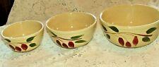 Vintage WATT USA Pottery Oven Ware Set 3 Nesting Bowls, Redbud Teardrop,#5,#6,#7