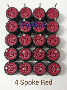 Custom Wheels HOT WHEELS RUBBER WHEELS TIRES 10 SETS 1/64 4 Spoke 10mm Red