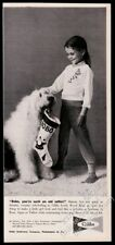 1959 Old English Sheepdog photo and girl Gibbs Pajamas Xmas vintage print ad