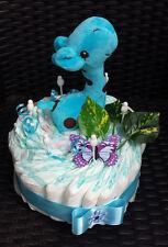Windeltorte blau, Baby Geschenk, Geburt, Taufe, Babyparty, Junge, Pampers Gr. 3