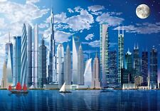 Giant size wallpaper for children's room 144x100inch City Tallest buildings Blue