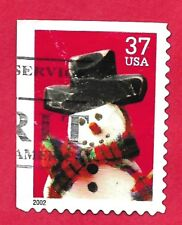 USPS 37 cent postage stamp COMMEMORATIVE SNOWMAN w/flop hat 2002