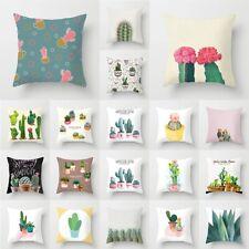 18'' Tropical Plants&Cactus Sofa Pillow Case Polyester Cushion Cover Home Decor