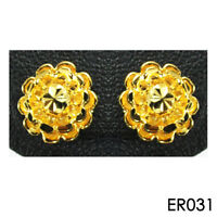 Cute Flower Stud Earrings 22K 24K Thai Baht Women Jewelry YELLOW GOLD GP 031