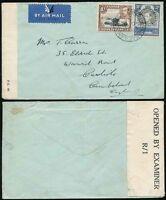 KUT TANGANYIKA 1942 CENSORED AIRMAIL 30c + 1/- to GB