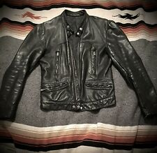 Vtg Leather Jacket 70s Cafe Racer Tom Waits Rain Dogs