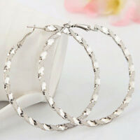 Fashion Women Big Large Hoop Earring Jewelry Silver Gold Circle Party Crystal