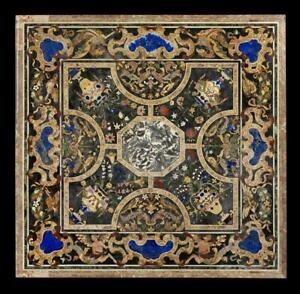 Black Marble Dining Table Top Lapis Marquetry Inlay Arts Home Dining Decors B924