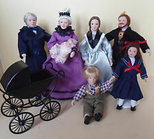 Dolls House Miniature Victorian  Family of 7 with FREE Pram for Baby 1:12