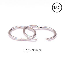 "925 Sterling Silver Nose Ring Hinged Continuous Hoop 3/8"" 9.5mm 18 Gauge 18G"