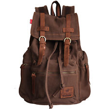 Mens Vintage Canvas Leather Backpack Sport Rucksack Travel Satchel School Bag