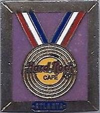 "Hard Rock Cafe ATLANTA 1996 Olympic ""Gold Record"" Medal PIN Rectangle HRC #50673"
