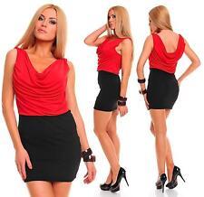 Womens Two Tone Black Cowl Neck Sexy Party Bodycon Mini Dress Size UK 8 10 12