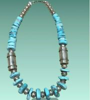 Large Nevada Turquoise Sterling Silver Necklace L. Begay