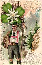 Mann in Lederhose und Trachtenkleidung, Edelweis, Farb-Litho, 1903