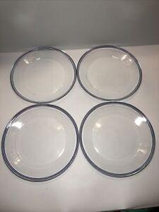 Set Of 4 Arcoroc France Glass Plates Pretty Blue Trim Glassware VGC