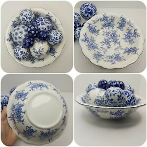 Vintage Blue White Bowl Filled With Ceramic Carpet Balls Country Chic