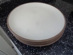 DENBY TRUFFLE SALAD PLATES X 4 - THIN BAND
