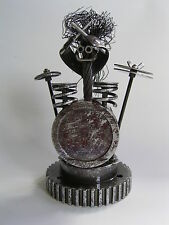 """Drummer """"Bash"""" metal sculpture made from re-cycled piston, automotive components"""