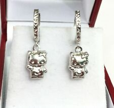 18k Solid White Gold Hello Kitty Dangle Hoop Earrings, Diamond Cut1.65 Grams