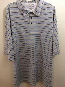 Austin Golf Shirt Mens Size XXL short sleeves blue black white stripes