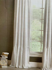 Rachel Ashwell Shabby Chic White Cotton Linen Ruffle Window Panel Curtain Pair 2