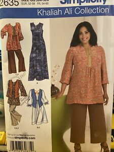 Women's Long Tunic Top Caftan Dress Wide Leg Pants Sewing Pattern  26-32w
