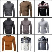 Warm Knitwear Casual Turtle Neck Mens Pullover Jumper Winter Knitted Sweater